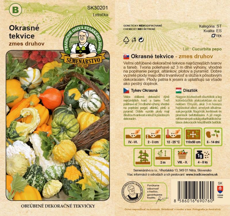 Tradičné osivá - Okrasné tekvice (zmes druhov)