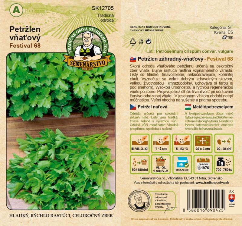 Tradičné osivá - Petržlen záhradný vňaťový ´Festival 68´