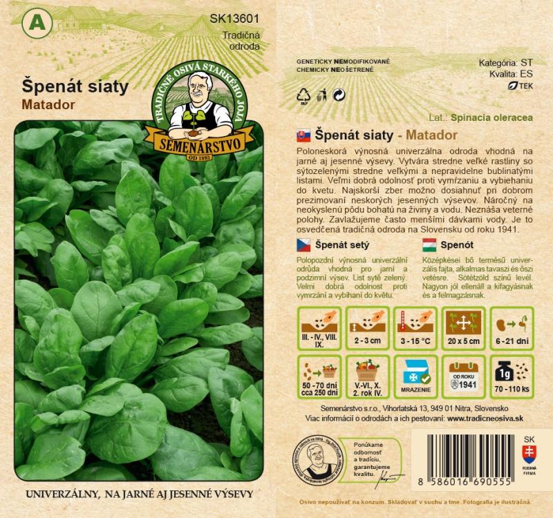 Tradičné osivá - Špenát siaty ´Matador´